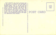 1940 ca. BR 21 Minnesotas Animated Paul Bunyon Brainerd, Minn Curteich postcard back