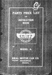 1912 STuTZ PARTS PRICE LIST Front