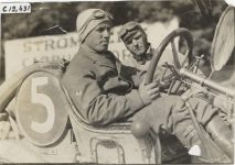 1909 CHALMERS DETROIT Crown Point Races Driver and passenger in racecar if so then Car 5 Billy Knipper driver photo Burton Historical Collection Detroit Public Library
