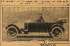 1913 KEETON BOB BURMAN AT THE WHEEL OF A KEETON CAR WHICH IS ON SHOW AT THE PALACE clippings file 6.5×4.25 AACA Library 1
