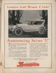 "1922 1 25 LEXINGTON Announcing Series ""U"" MOTOR WORLD AACA Library"