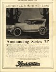 "1922 ca. LEXINGTON Announcing Series ""U"" THE SATURDAY EVENING POST ad 10.25″×13.25″ AACA Library page 87"