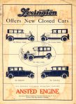 1922 ca. LEXINGTON Offers New Closed Cars ANSTED ENGINE ad 8″×11″ AACA Library
