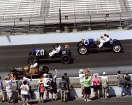 2019 8 4 SVRA Brickyard at IMS 1919 FORD Lakester Car 15, 1911 National Indy Car 20 and 1910 National Car 6 CDT and Mechanician Joani IMS photo