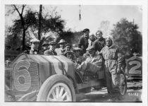 1911 NATIONAL Fairmount Park Races standing behind wheel Louis Disbrow at wheel Don Herr passenger Johnny Aitken photo Burton Historical Collection Detroit Public Library
