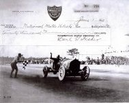 1912 6 1 NATIONAL Indy 500 Joe Dawson winning check #525393 in 2018 Indy 500 IMS photo