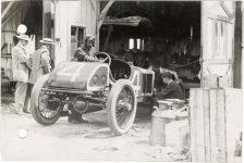1913 KEETON Indy 500 Bob Burman repairing Keeton racecar photo Burton Historical Collection Detroit Public Library