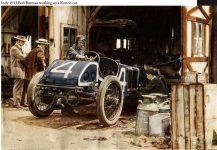 1913 KEETON Indy 500 Bob Burman repairing Keeton racecar photo Burton Historical Collection Detroit Public Library colorized