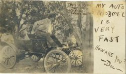 1907 THAT'S A SMOKE NOT TEETH ALL SAME BARNEY OLDFIELD MY AUTOMOBEEL IS VERY FAST HOW ARE YOU Doc RPPC front