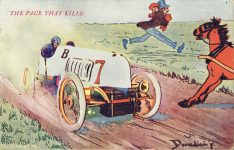 1908 THE PACE THAT KILLS Auto racing comic postcard front