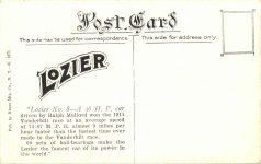 1911 Vanderbilt Cup Race Mulford in Lozier winning postcard back