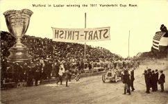 1911 Vanderbilt Cup Race Mulford in Lozier winning postcard front