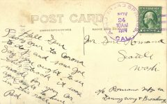 1914 11 24 MERCER Pullen Corona Cal RPPC to Jean Romano from Red back