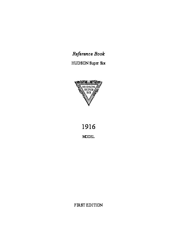 1916 Hudson 1916 Hudson Super Six Reference Book Andris CollectionHAVE
