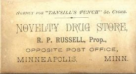 1880 ca. 5 Cigar Tansill's Punch NOVELTY DRUG STORE Minneapolis 4.75″×2.5″ back