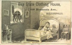 1880 ca. CHILDHOOD'S HAPPY HOURS Bay State Clothing House Minneapolis 4.25″×2.75″