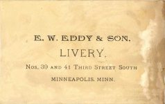 1880 ca. Race Horse TRINKET NICOLLET HOUSE LIVERY AND BOARDING STABLE 3rd ST South Minneapolis 5″×3″ back