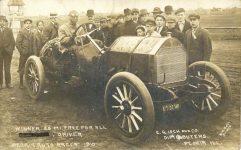 1910 PEORIA AUTO RACES WINNER 25 MI FREE FOR ALL BW POST PHOTO RPPC front