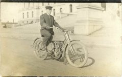 1910 ca. Harley-Davidson motorcycle at Minnesota State Capitol RPPC front