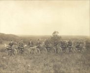 1911 ca. Above Cannon Falls, MN six WAGNER motorcycles 9.5″×7.75″ photo front