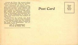 1920s ca. WANAMINGO FERRY Prairie du Chien, Wis 6″×3.5″ postcard back