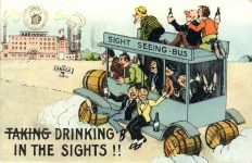 1929 12 12 DRINKING IN SIGHTS Quebec, Canada postcard front