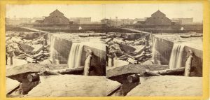 1865 ca. St. Anthony Falls Minneapolis Bradbury's Queen Esther Photograph 7″×3.5″ stereoview front