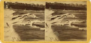 1865 ca. St. Anthony Falls Minneapolis UPTON Photograph 7″×3.5″ stereoview front