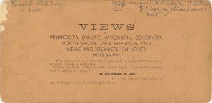1868 ca. St. Anthony Falls Minneapolis M. Nowack Photograph 7″×3.5″ stereoview back