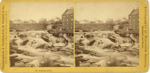 1868 ca. St. Anthony Falls Minneapolis M. Nowack Photograph 7″×3.5″ stereoview front