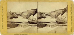 1870 ca. FALLS OF ST. ANTHONY Minneapolis WHITNEY'S GALLERY 7″×3.5″ stereoview front