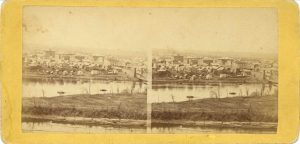 1880 ca. CITY OF MINNEAPOLIS UPTON 7″×3.5″ stereoview front
