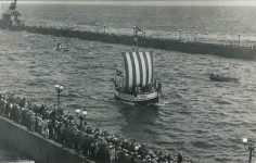 1927 6 23 Leif Erikson Viking Ship entering Duluth, MINN RPPC front