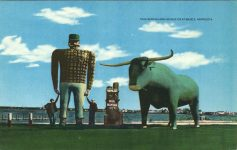 1947 ca. PAUL BUNYON AND HIS BLUE OX Bemidji, Minn 8.25″×5.25″ Giant postcard front