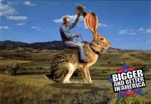 Giant Jack Rabbit BIGGER AND BETTER IN AMERICA postcard front