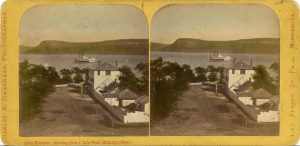 1867 ca. About Frontenac, Minn watering in place on Lake Pepin 7″×3.5″ steroeoview front