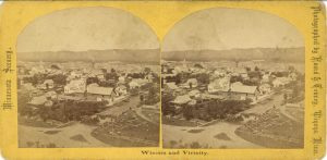 1870 ca. Winona and Vicinity From High School looking North East Hoard & Tenney Photographers 7″×3.5″ stereoview front