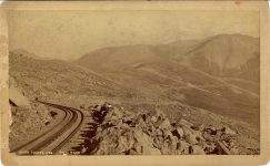 1880 ca. PIKES PEAK ABOVE TIMBER LINE LOW'S BOOK STORE Colorado Springs, Colo 8″×5″ photograph front