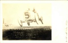 1913 STUTZ Elgin Races Gil Anderson driving Stutz Car 5 winning Elgin National Trophy Average 712 miles per hour for 302 miles RPPC front