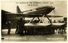 1929 WINNER SCHNEIDER TROPHY The Supermarine S-6 airplane Flight Photo postcard front