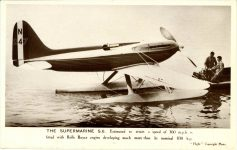 1929 ca. THE SUPERMARINE S-6 airplane Flight Photo postcard front