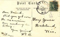 1908 ca. La Crosse County Insame Asylum West Salem, WIS postcard back