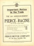 1910 7 20 PIERCE-RACINE THE 1911 ANNOUNCEMENT THE HORSELESS AGE 8.5″×12″ page 23