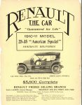 1910 7 20 RENAULT THE CAR 1910-11 THE HORSELESS AGE 8.5″×12″ Inside front cover