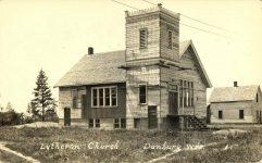 1926 ca. Lutheran Church (unfinshed) Danbury, WIS RPPC front