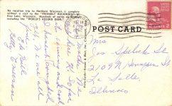 "1952 7 14 The ""FRIENDLY BUCKHORN"" Rice Lake, Wisconsin postcard back"