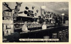 """1952 7 14 The """"FRIENDLY BUCKHORN"""" Rice Lake, Wisconsin postcard front"""