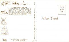 1977 RHODE ISLAND SEAFOOD postcard back