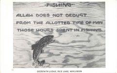 FISHING Deerpath Lodge Rice Lake, Wisconsin postcard front