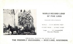 WORLD RECORD LOAD OF PINE LOGS The Friendly Buckthorn Rice Lake, Wisconsin postcard front